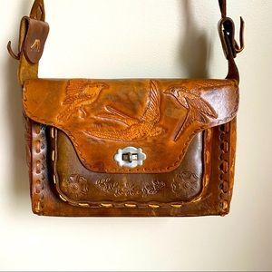 1970's Vintage tooled leather Shoulder Bag
